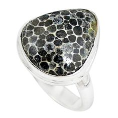 Natural black stingray coral from alaska 925 silver ring jewelry size 7 m18747