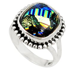 Multi color dichroic glass 925 sterling silver ring jewelry size 7.5 m19074