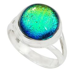 Multi color dichroic glass 925 sterling silver ring jewelry size 7.5 m19086