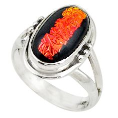 Multi color dichroic glass 925 sterling silver ring jewelry size 8 m19149