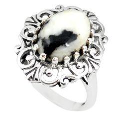 Natural white zebra jasper 925 sterling silver ring jewelry size 9.5 m19231