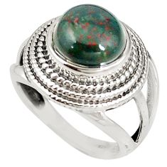 Natural green bloodstone african (heliotrope) 925 silver ring size 7 m19266