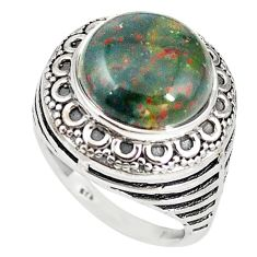 Natural green bloodstone african (heliotrope) 925 silver ring size 7 m19305