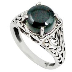 Natural green bloodstone african (heliotrope) 925 silver ring size 7.5 m19346