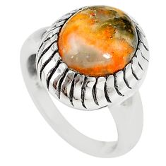 Natural yellow bumble bee australian jasper 925 silver ring size 7 m19351