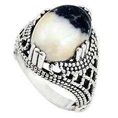 Natural white zebra jasper 925 sterling silver ring jewelry size 6.5 m19482