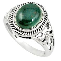 Natural green bloodstone african (heliotrope) 925 silver ring size 8.5 m19489