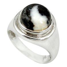 Natural white zebra jasper 925 sterling silver ring jewelry size 6.5 m19507