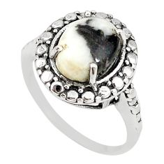 Natural white zebra jasper 925 sterling silver ring jewelry size 7 m19533