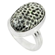 Natural black stingray coral from alaska 925 silver ring jewelry size 8 m19826