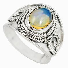 Natural multi color ethiopian opal 925 sterling silver ring size 7 m20176