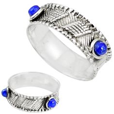 Natural blue lapis lazuli 925 sterling silver band ring size 8 m20961