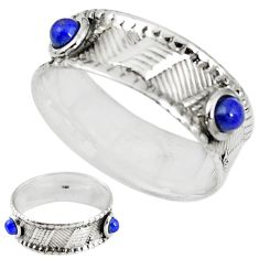 Natural blue lapis lazuli 925 sterling silver band ring size 8 m20962