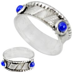 Natural blue lapis lazuli 925 sterling silver band ring size 6 m20963