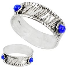 Natural blue lapis lazuli 925 sterling silver band ring jewelry size 8 m20965