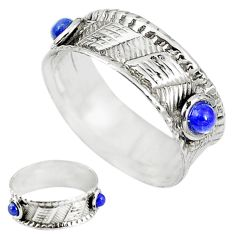 Natural blue lapis lazuli 925 sterling silver band ring size 7 m20966