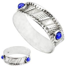 Natural blue lapis lazuli 925 sterling silver band ring size 9 m20967