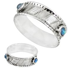 Natural blue labradorite 925 sterling silver band ring size 9 m20972