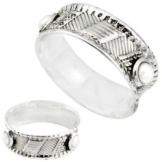 925 sterling silver natural white pearl band ring jewelry size 7 m20974
