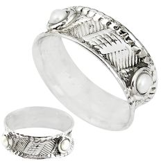 Natural white pearl 925 sterling silver band ring jewelry size 6 m20975