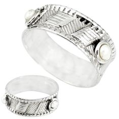 Natural white pearl 925 sterling silver band ring jewelry size 7 m20976