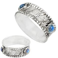 Natural blue labradorite 925 sterling silver band ring jewelry size 7 m20978