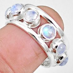 Natural rainbow moonstone 925 sterling silver band ring jewelry size 7 m21166