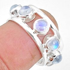 Natural rainbow moonstone 925 sterling silver band ring size 6 m21167
