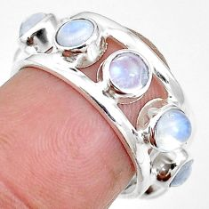 Natural rainbow moonstone 925 sterling silver band ring jewelry size 6 m21169