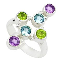 Natural purple amethyst peridot topaz 925 sterling silver ring size 6 m24038