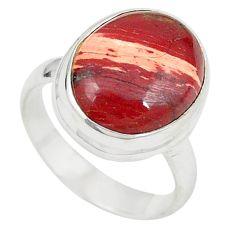 Natural red snakeskin jasper 925 sterling silver ring size 6.5 m24821
