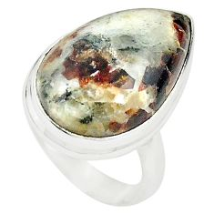 Natural bronze astrophyllite (star leaf) 925 silver ring size 7 m24830