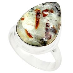 Natural bronze astrophyllite (star leaf) 925 silver ring jewelry size 6 m24833