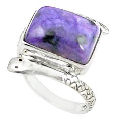 Natural purple charoite (siberian) 925 silver snake ring jewelry size 8.5 m25229
