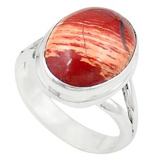 925 sterling silver natural red snakeskin jasper ring jewelry size 7.5 m26137