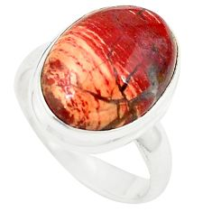 Natural red snakeskin jasper 925 sterling silver ring jewelry size 7 m26139