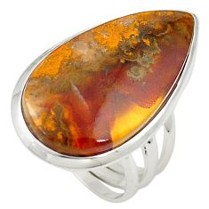 Natural brown moroccan seam agate 925 silver ring jewelry size 6 m26325