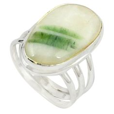 Natural green tourmaline in quartz 925 silver ring jewelry size 7.5 m26628