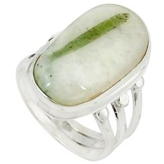 Natural green tourmaline in quartz 925 silver ring jewelry size 7 m26629