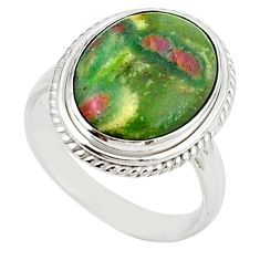 Natural pink ruby in fuchsite 925 sterling silver ring size 8.5 m26890