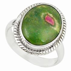 925 sterling silver natural pink ruby in fuchsite oval ring size 7.5 m26893