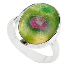 925 sterling silver natural pink ruby in fuchsite ring jewelry size 7.5 m26898