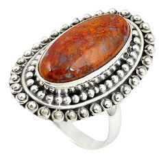 Natural brown vaquilla agate 925 sterling silver ring size 8 m27123