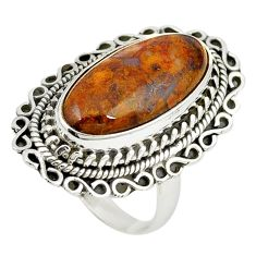 Natural brown vaquilla agate 925 sterling silver ring jewelry size 7 m27129