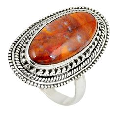 925 sterling silver natural brown vaquilla agate oval ring size 8.5 m27134