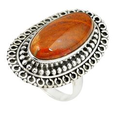 Natural brown vaquilla agate 925 sterling silver ring jewelry size 7 m27137