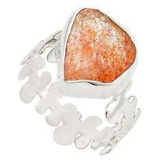 925 sterling silver natural orange sunstone rough ring jewelry size 9 m28696