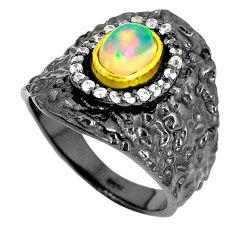 925 silver natural ethiopian opal black rhodium 14k gold ring size 7 m38819
