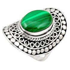 Natural green malachite (pilot's stone) 925 silver ring size 6.5 m43830
