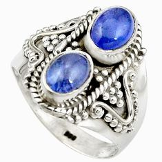 Natural blue tanzanite 925 sterling silver ring jewelry size 7 m44506